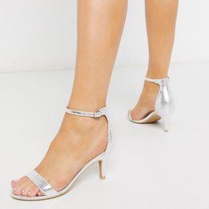Glamorous Silver Kitten Heeled Sandals